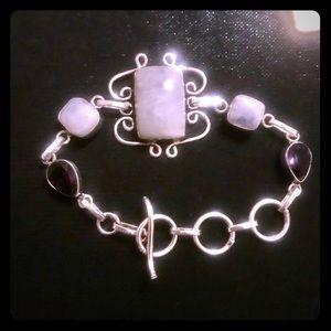 Rainbow Moonstone 925 Sterling Silver Bracelet